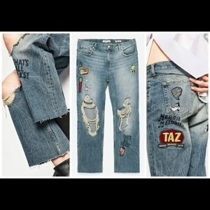 NWT zara looney tunes patched jeans 2